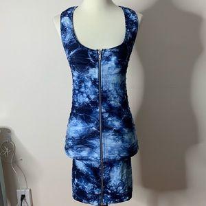 BEBE Bodycon Tir Dye Zip-up Dress